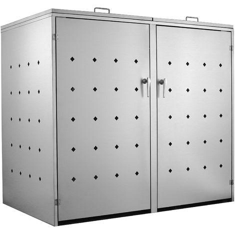"""""Rhombus"" stainless steel rubbish bin box with hinged lid for 2 bins"