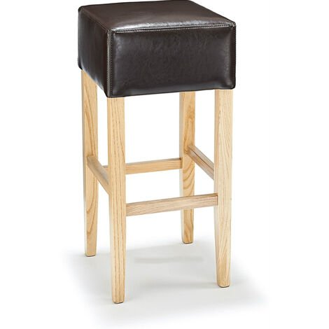 Rhone Aniline Real Leather Breakfast Bar Stool - Brown And Oak Brown