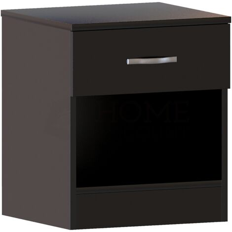 Riano 1 Drawer Bedside Chest, Black