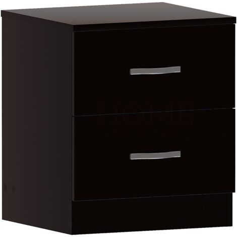 Riano 2 Drawer Bedside Chest, Black