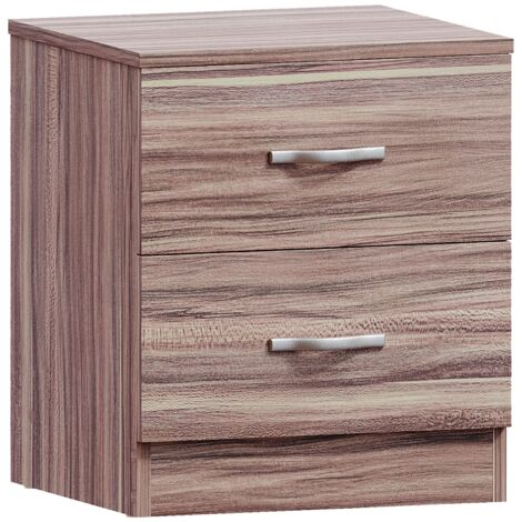 Riano 2 Drawer Bedside Chest, Walnut