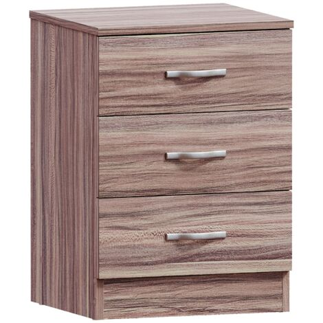 Riano 3 Drawer Bedside Chest, Walnut