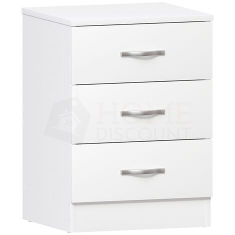 Riano 3 Drawer Bedside Chest, White