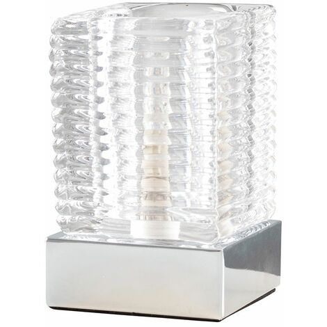 Ribbed Glass Ice Cube Bedside Touch Table Lamp Chrome Base