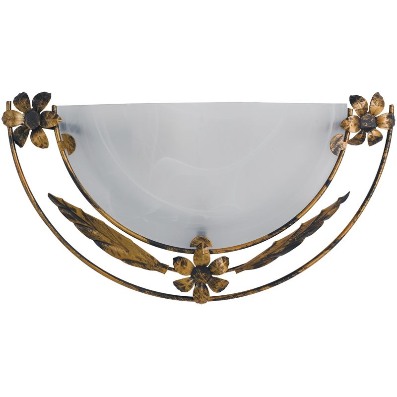 Riccio app applique lunetta vetro alabastro bianco cornice