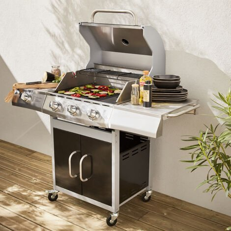 Richelieu stainless steel gas barbecue, 4 burners, including 1 side burner, 14kW, grill and plancha side, outdoor kitchen