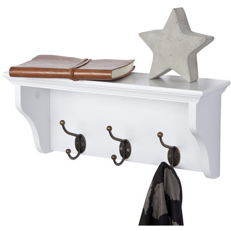 Richmond Coat Rack with 3 Hooks // Wall-mounted Storage Shelf for Hallway, Bathroom, Bedroom, Kitchen, Cloakroom