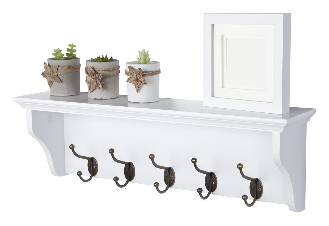 Image of Elegant Brands - Richmond Coat Rack with 5 Hooks // Wall-mounted Storage Shelf for Hallway, Bathroom, Bedroom, Kitchen, Cloakroom