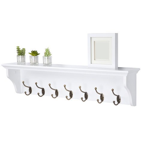Richmond Coat Rack with 7 Hooks // Wall-mounted Storage Shelf for Hallway, Bathroom, Bedroom, Kitchen, Cloakroom