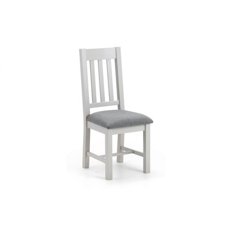 Richmond Elephant Grey Painted Dining Chair & Linen Fabric Seat Pad