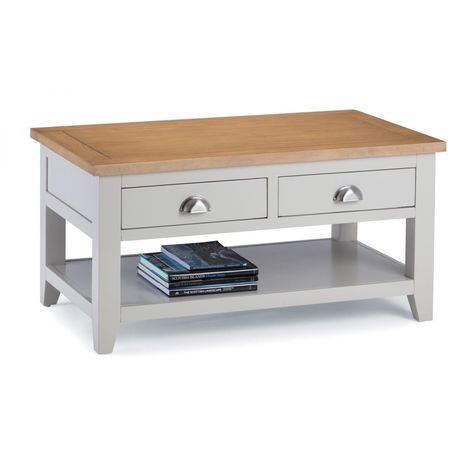 Richmond Elephant Grey Painted Storage Coffee Table Euro Oak With 2 Drawers