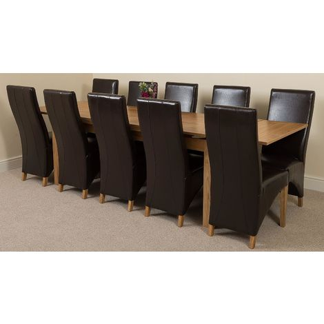 Richmond Solid Oak 200cm-280cm Extending Dining Table with 10 Lola Dining Chairs [Brown Leather]