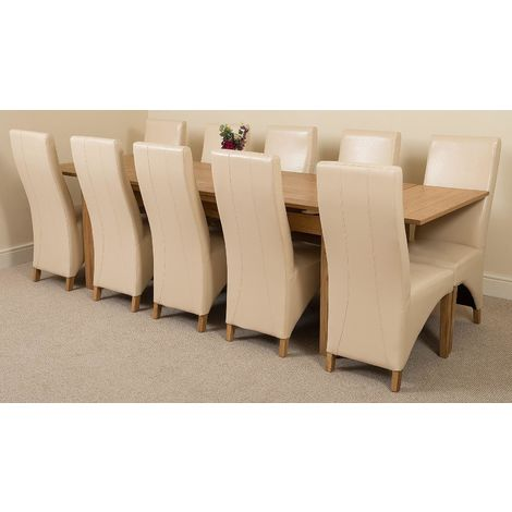 Richmond Solid Oak 200cm-280cm Extending Dining Table with 10 Lola Dining Chairs [Ivory Leather]