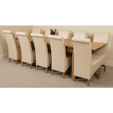 Richmond Solid Oak 200cm-280cm Extending Dining Table with 10 Montana Dining Chairs [Ivory Leather]