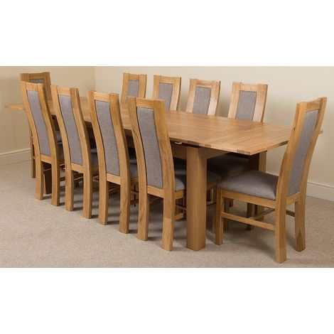 Richmond Solid Oak 200cm-280cm Extending Dining Table with 10 Stanford Solid Oak Dining Chairs [Light Oak and Grey Fabric]
