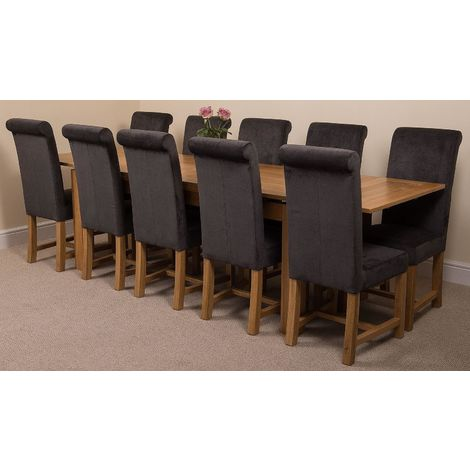 Richmond Solid Oak 200cm-280cm Extending Dining Table with 10 Washington Dining Chairs [Black Fabric]