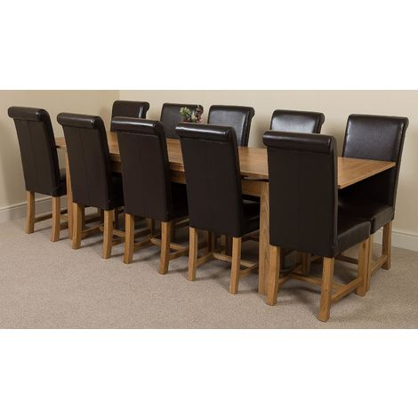 Richmond Solid Oak 200cm-280cm Extending Dining Table with 10 Washington Dining Chairs [Black Leather]