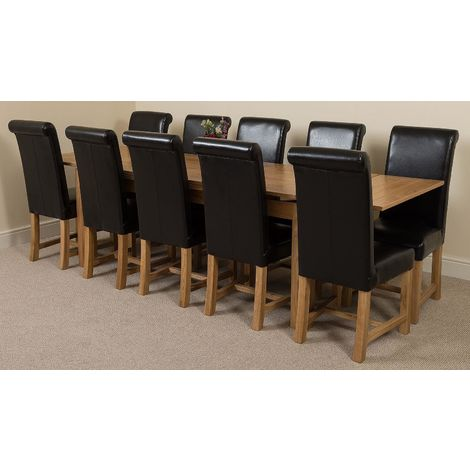 Richmond Solid Oak 200cm-280cm Extending Dining Table with 10 Washington Dining Chairs [Brown Leather]