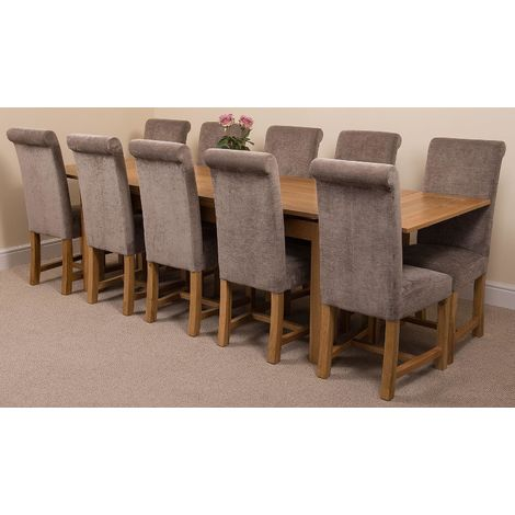Richmond Solid Oak 200cm-280cm Extending Dining Table with 10 Washington Dining Chairs [Grey Fabric]