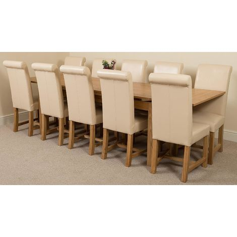 Richmond Solid Oak 200cm-280cm Extending Dining Table with 10 Washington Dining Chairs [Ivory Leather]