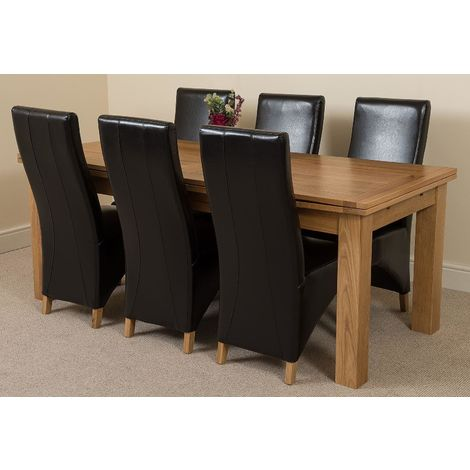 Richmond Solid Oak 200cm-280cm Extending Dining Table with 6 Lola Dining Chairs [Black Leather]