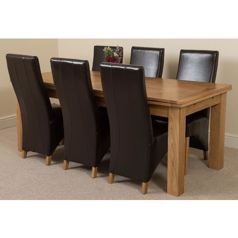 Richmond Solid Oak 200cm-280cm Extending Dining Table with 6 Lola Dining Chairs [Brown Leather]