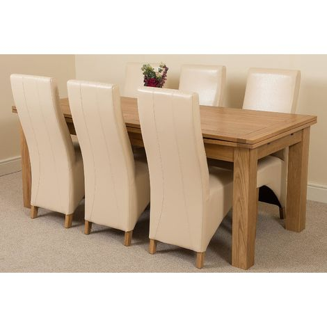 Richmond Solid Oak 200cm-280cm Extending Dining Table with 6 Lola Dining Chairs [Ivory Leather]