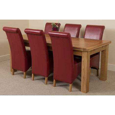 Richmond Solid Oak 200cm-280cm Extending Dining Table with 6 Montana Dining Chairs [Burgundy Leather]
