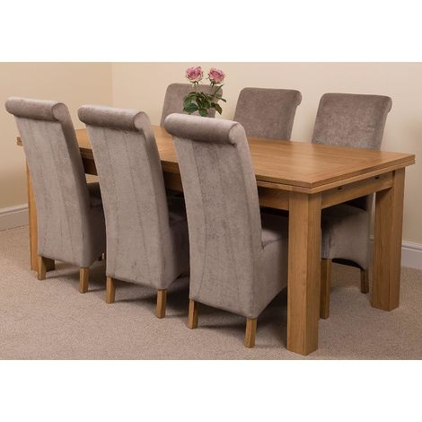 Richmond Solid Oak 200cm-280cm Extending Dining Table with 6 Montana Dining Chairs [Grey Fabric]