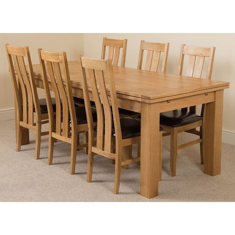 Richmond Solid Oak 200cm-280cm Extending Dining Table with 6 Princeton Solid Oak Dining Chairs [Light Oak and Brown Leather]