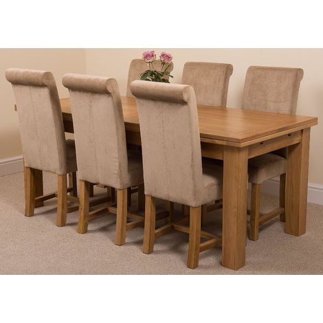 Richmond Solid Oak 200cm-280cm Extending Dining Table with 6 Washington Dining Chairs [Beige Fabric]