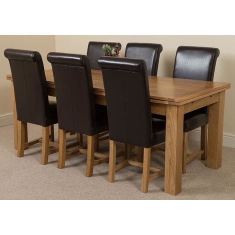 Richmond Solid Oak 200cm-280cm Extending Dining Table with 6 Washington Dining Chairs [Black Leather]