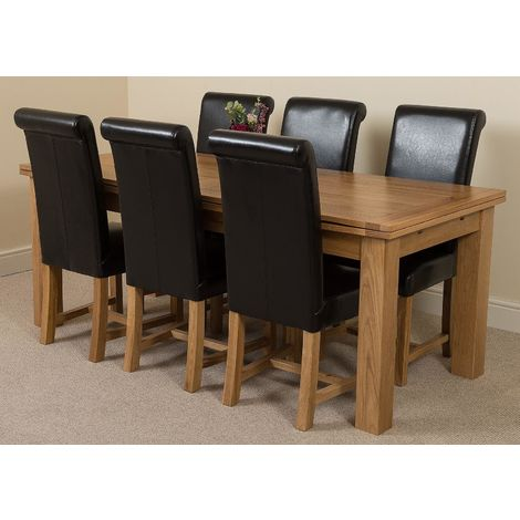 Richmond Solid Oak 200cm-280cm Extending Dining Table with 6 Washington Dining Chairs [Brown Leather]