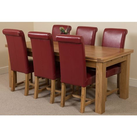 Richmond Solid Oak 200cm-280cm Extending Dining Table with 6 Washington Dining Chairs [Burgundy Leather]