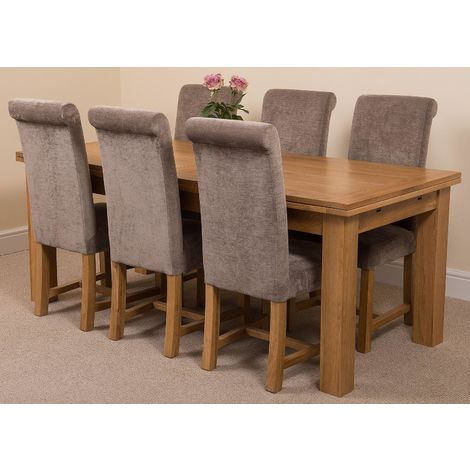 Richmond Solid Oak 200cm-280cm Extending Dining Table with 6 Washington Dining Chairs [Grey Fabric]