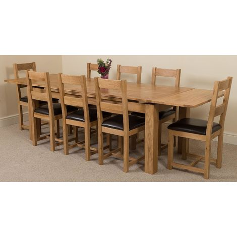 Richmond Solid Oak 200cm-280cm Extending Dining Table with 8 Lincoln Solid Oak Dining Chairs [Light Oak and Brown Leather]