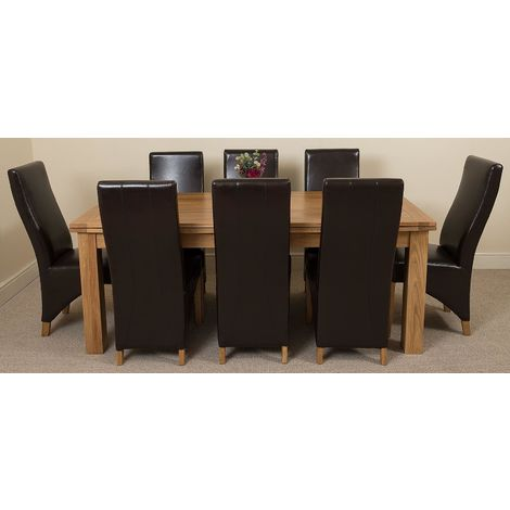 Richmond Solid Oak 200cm-280cm Extending Dining Table with 8 Lola Dining Chairs [Brown Leather]