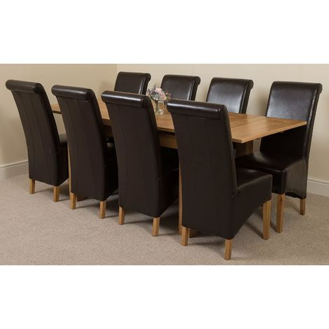 Richmond Solid Oak 200cm-280cm Extending Dining Table with 8 Montana Dining Chairs [Brown Leather]