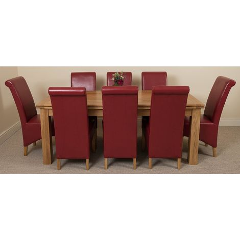 Richmond Solid Oak 200cm-280cm Extending Dining Table with 8 Montana Dining Chairs [Burgundy Leather]