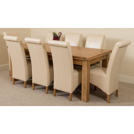 Richmond Solid Oak 200cm-280cm Extending Dining Table with 8 Montana Dining Chairs [Ivory Leather]
