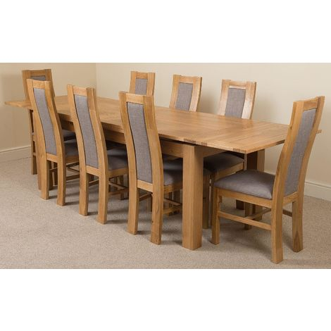Richmond Solid Oak 200cm-280cm Extending Dining Table with 8 Stanford Solid Oak Dining Chairs [Light Oak and Grey Fabric]