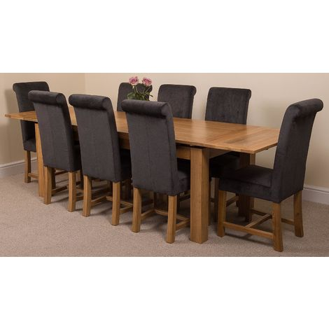 Richmond Solid Oak 200cm-280cm Extending Dining Table with 8 Washington Dining Chairs [Black Fabric]