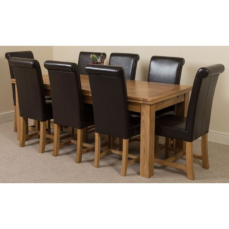 Richmond Solid Oak 200cm-280cm Extending Dining Table with 8 Washington Dining Chairs [Black Leather]