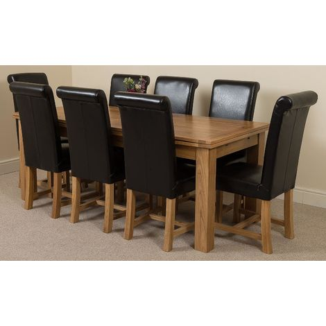 Richmond Solid Oak 200cm-280cm Extending Dining Table with 8 Washington Dining Chairs [Brown Leather]