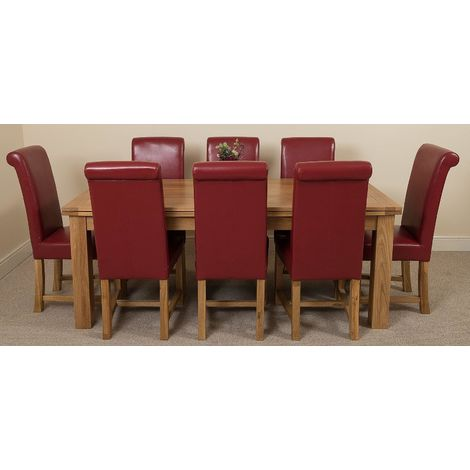 Richmond Solid Oak 200cm-280cm Extending Dining Table with 8 Washington Dining Chairs [Burgundy Leather]