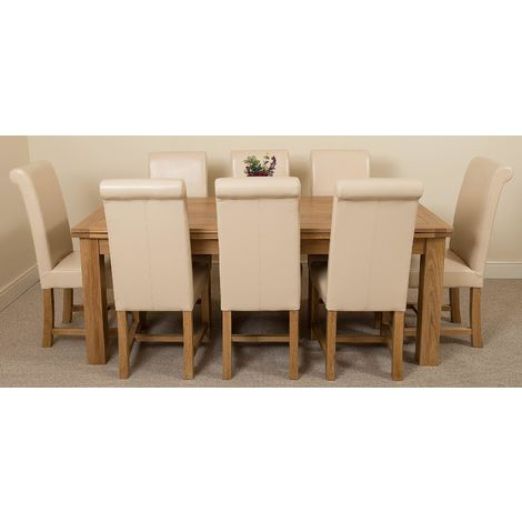 Richmond Solid Oak 200cm-280cm Extending Dining Table with 8 Washington Dining Chairs [Ivory Leather]