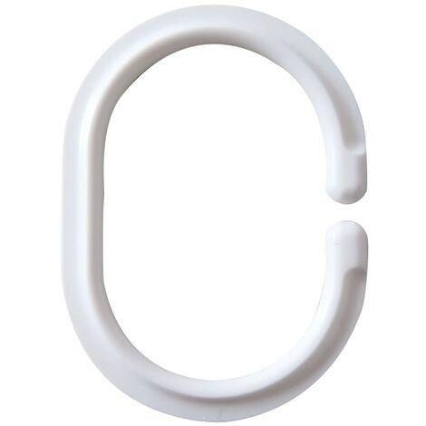 RIDDER Anneaux de rideau de douche Blanc 49301