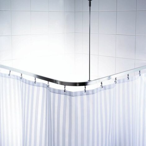 RIDDER Universal Corner Shower Curtain Rail with Hooks Chrome 52500