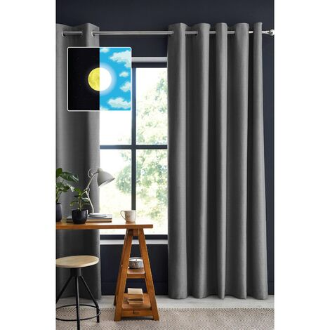 Rideau 100% occultant luxe 140 x 260 cm Obscure Anthracite