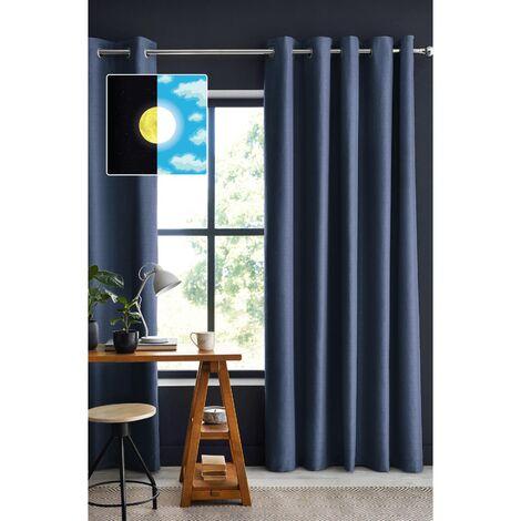 Rideau 100% occultant luxe 140 x 260 cm Obscure Bleu